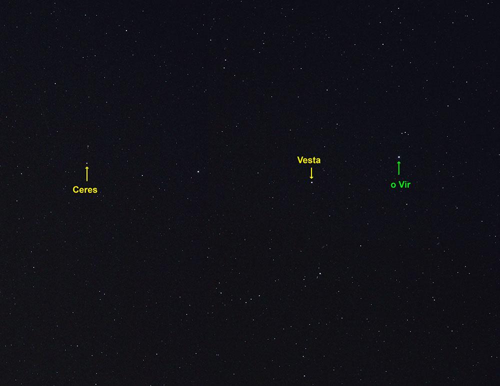 Asteroiden Ceres und Vesta im Sternbild Jungfrau