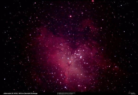 Astrofoto vom 23./24. Aug. 2016: Adlernebel mit (nur) 27 Minuten Belichtungszeit