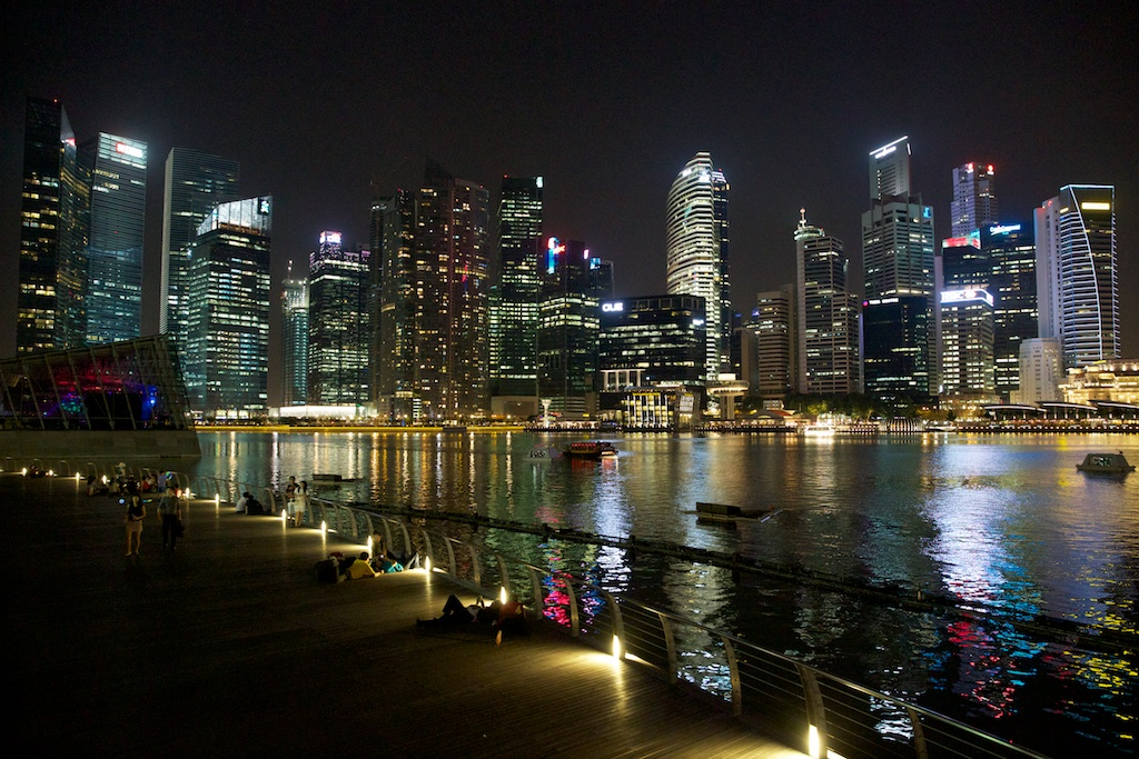 At Night Inside the Marina from Singapore