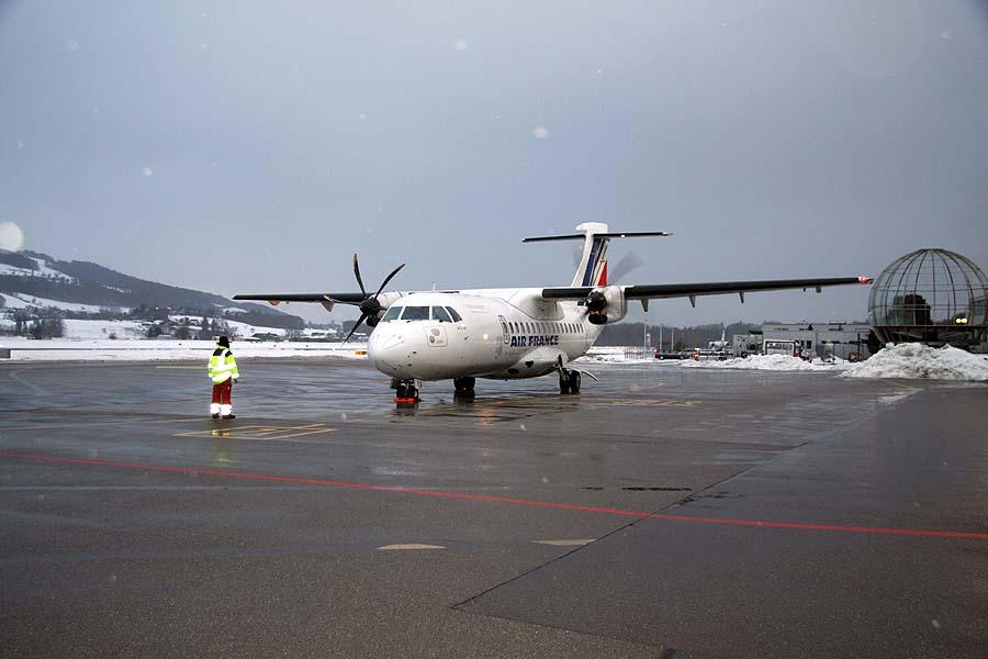 ATR42-500 mit 48 Sitzplätzen der AIR FRANCE in Bern-Belp