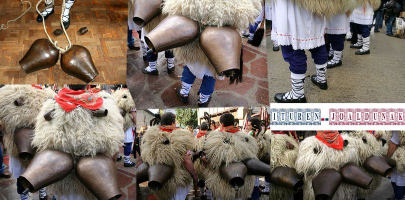 Atuendo tradicional y cencerros de los joaldunak de Ituren (Navarra/Nafarroa) en el Carnaval 2013.