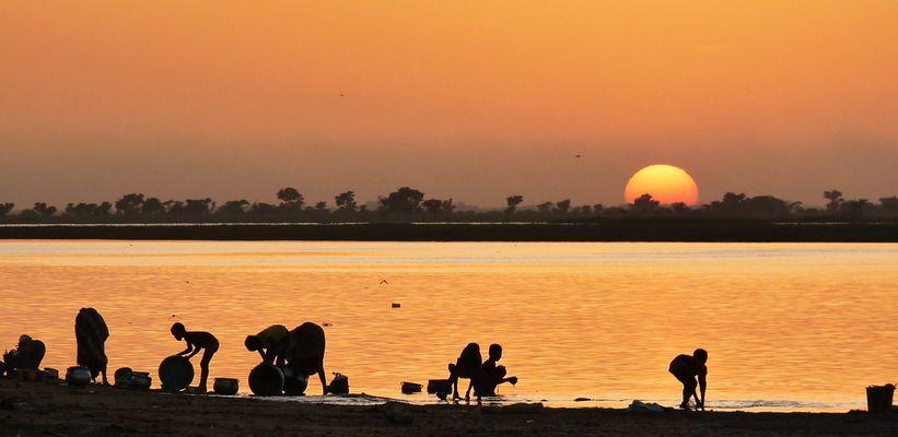 Au bord du fleuve Niger, Mali.Novembre 2009