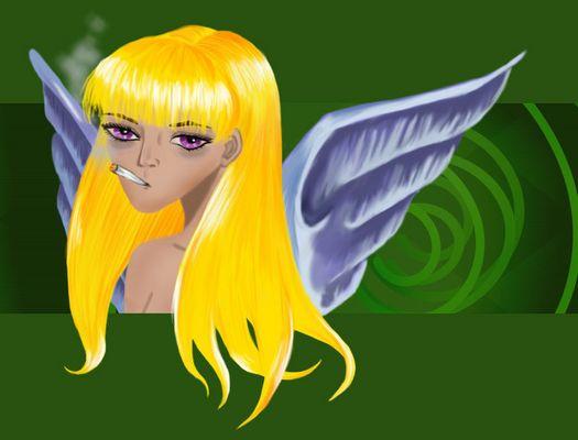 Auch Engel muessen mal 'ne Tüte rauchen !
