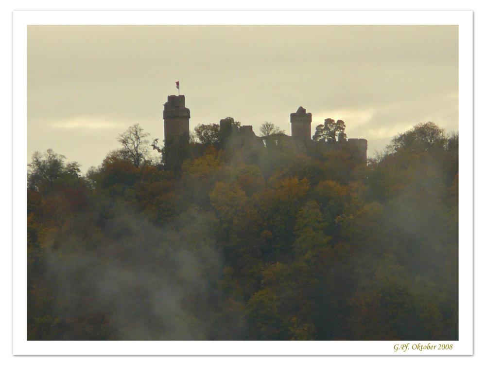 Auerbacher Schloss im Herbstnebel