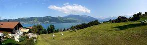 auf dem Höheweg, Blick auf den Thunersee und die Alpen von Juan
