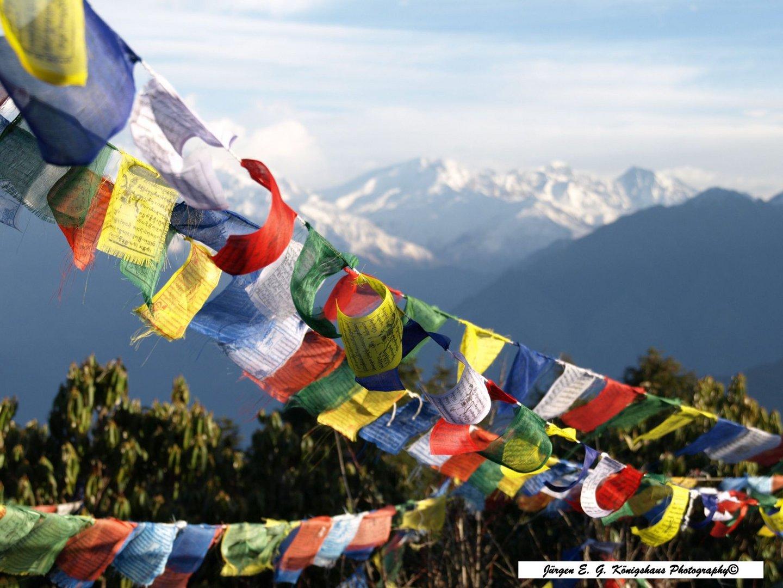 Auf dem Poon Hill mit Blick auf die Annapurna Gebirgskette im Himalaya