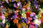 Auf dem Wochenmarkt am Blumenstand