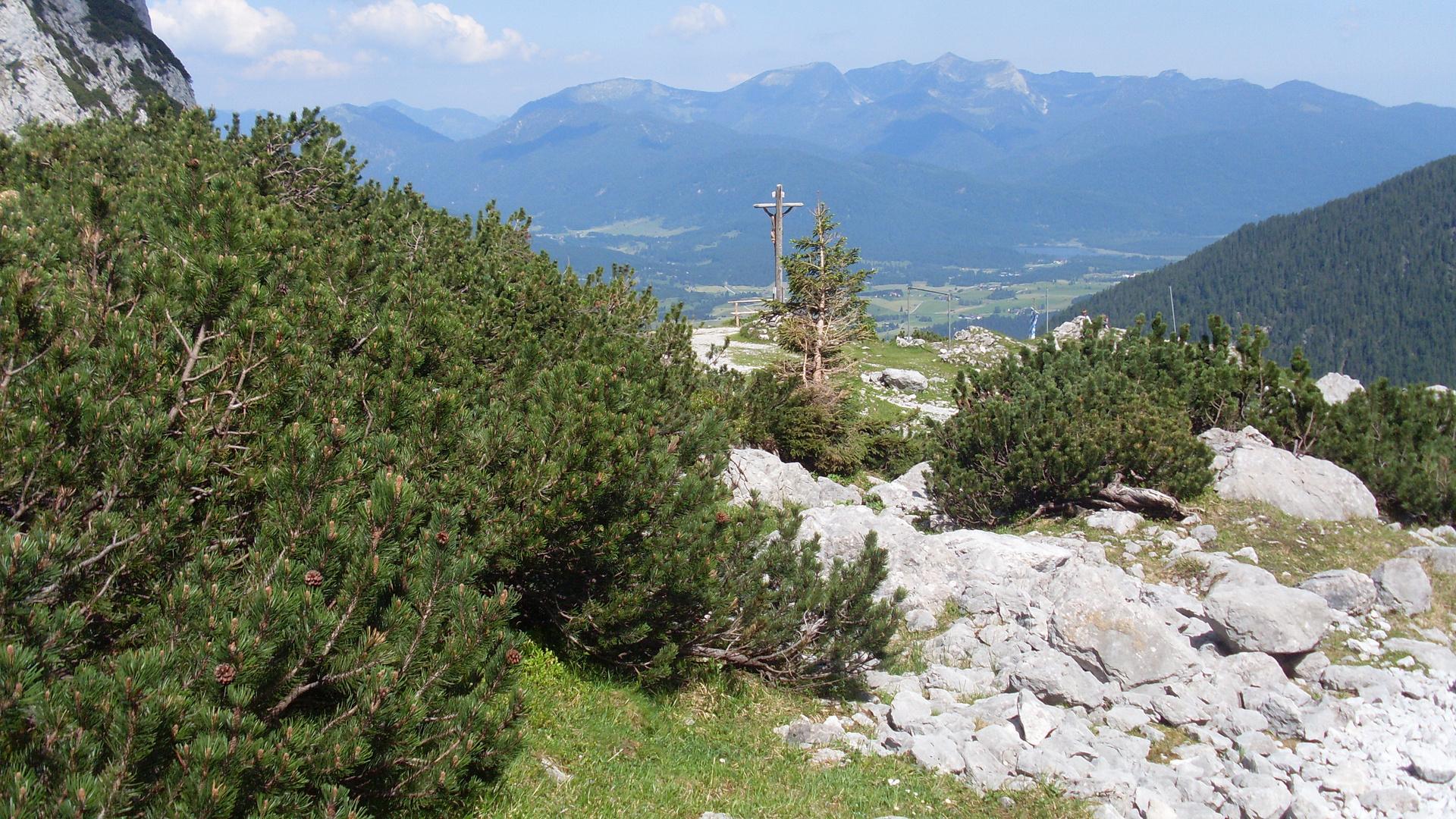 """Auf der """"Dammkarhütte"""" mit Blick auf Mittenwald"""