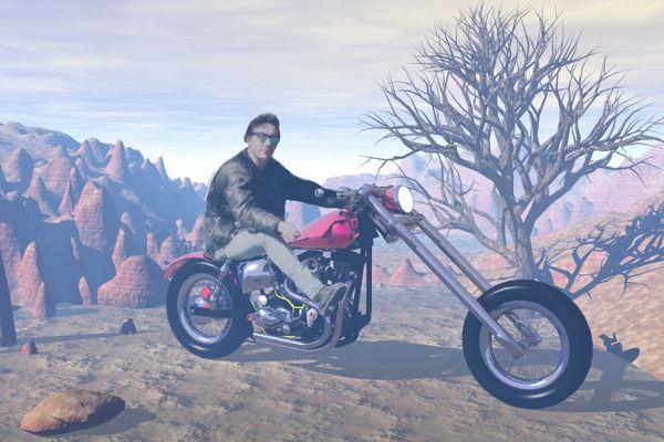 Auf der Harley