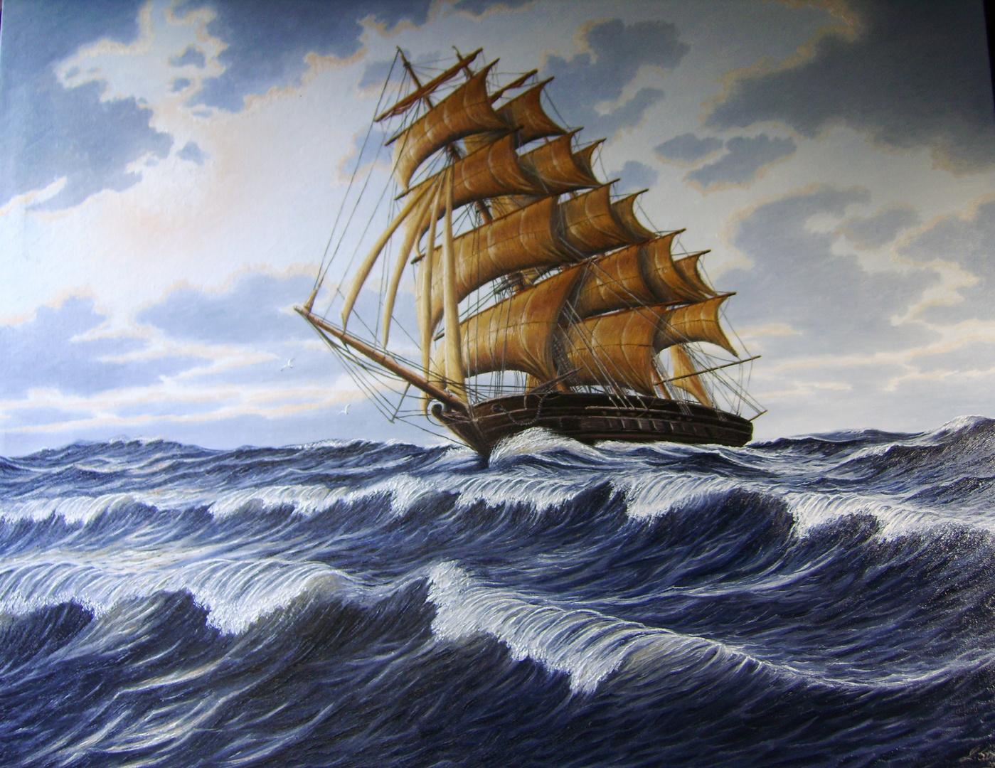 Auf der Nordsee,Großsegler