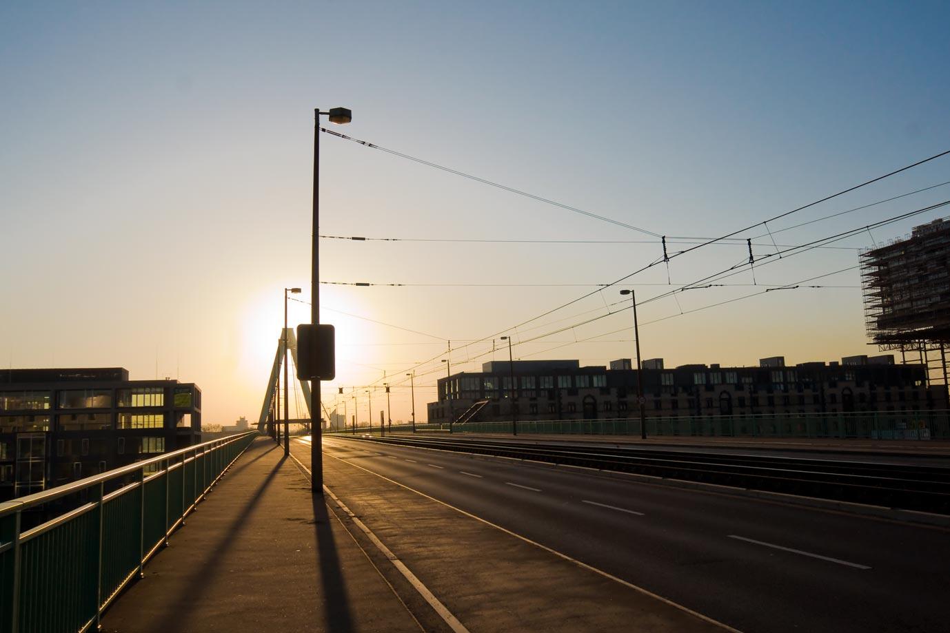 Auf der Severinsbrücke in Köln