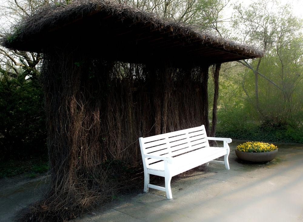 Auf einer Parkbank Ruhe finden