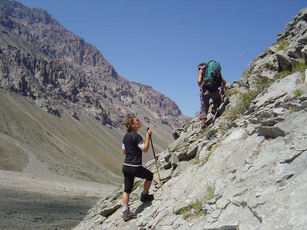 Aufstieg zu den Wasserspielen Anden Chile