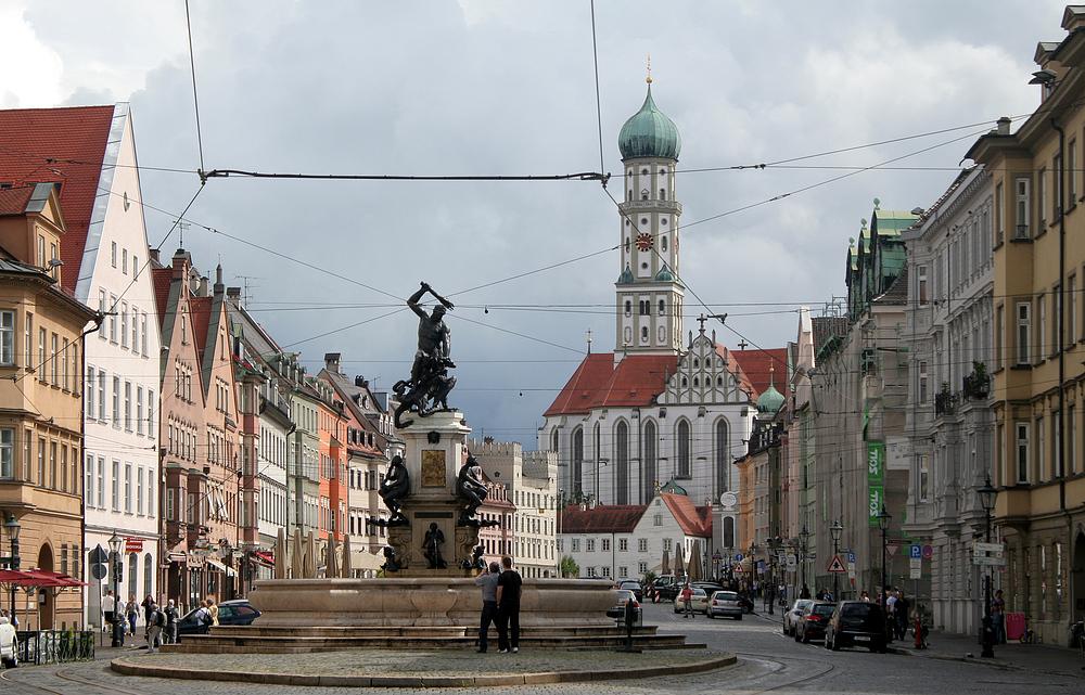 augsburg maximilianstra e herkulesbrunnen und ulrichskirche foto bild deutschland europe. Black Bedroom Furniture Sets. Home Design Ideas
