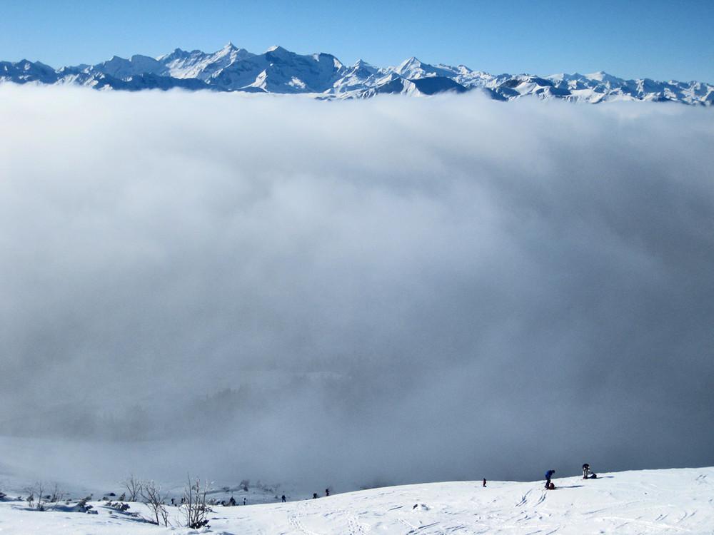 aus dem Nebel kommend