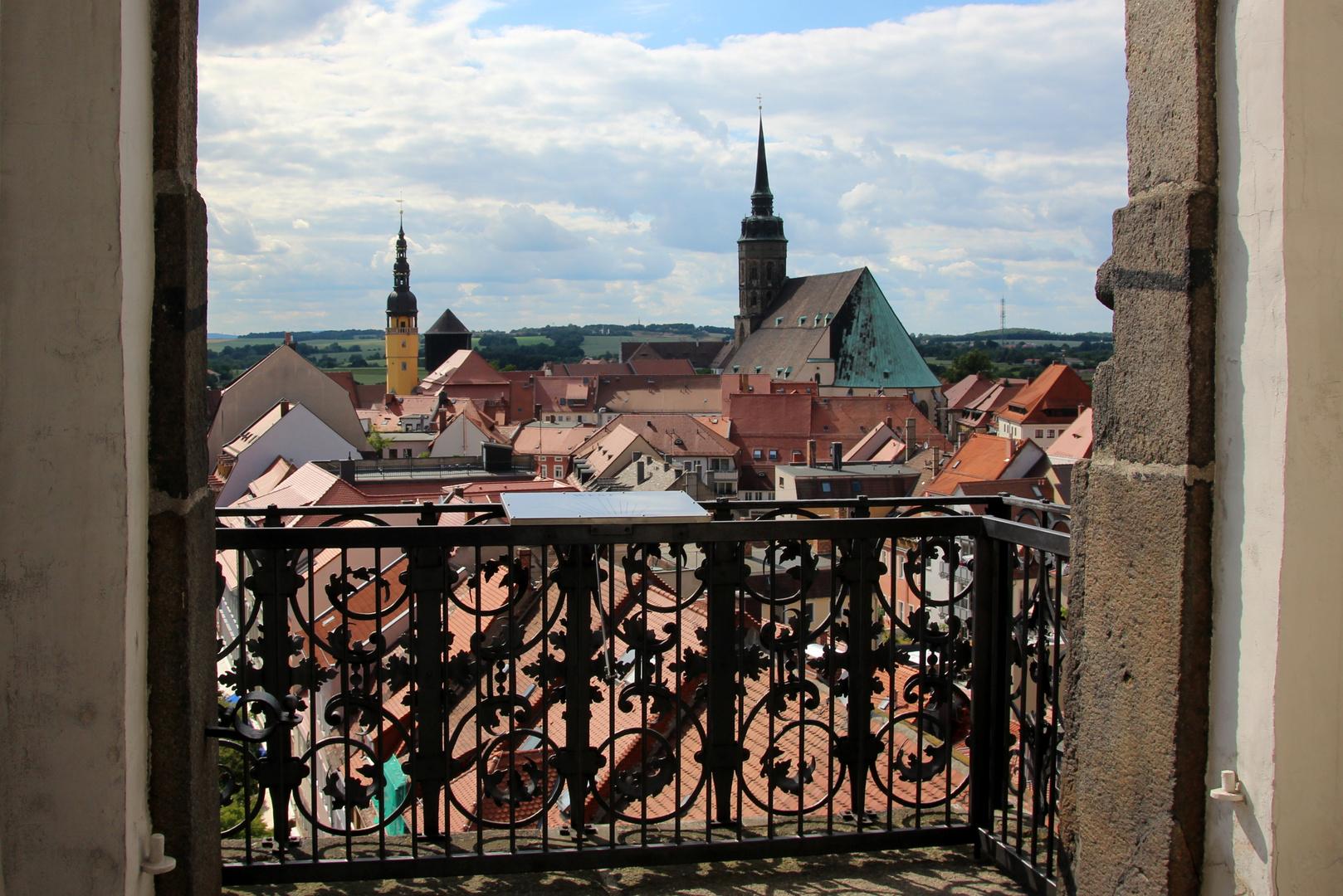 Ausblick vom Reichenturm in Bautzen in Richtung Westen