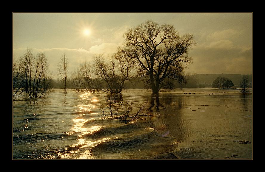 Ausfahrt Hafen Neu Darchau bei Hochwasser