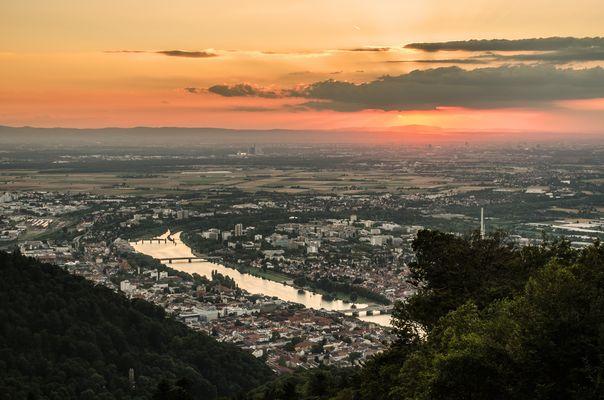 Aussicht bei Sonnenuntergang vom Königstuhl