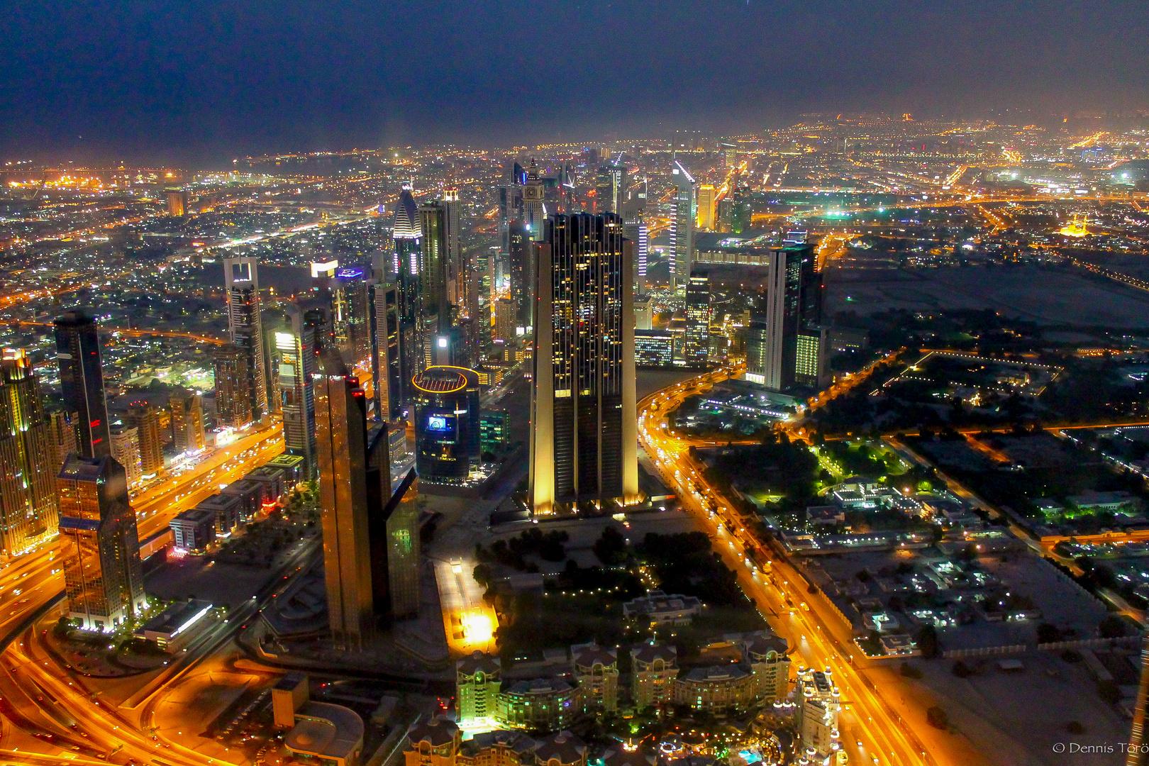 Aussicht vom Burj Khalifa bei Dämmerung