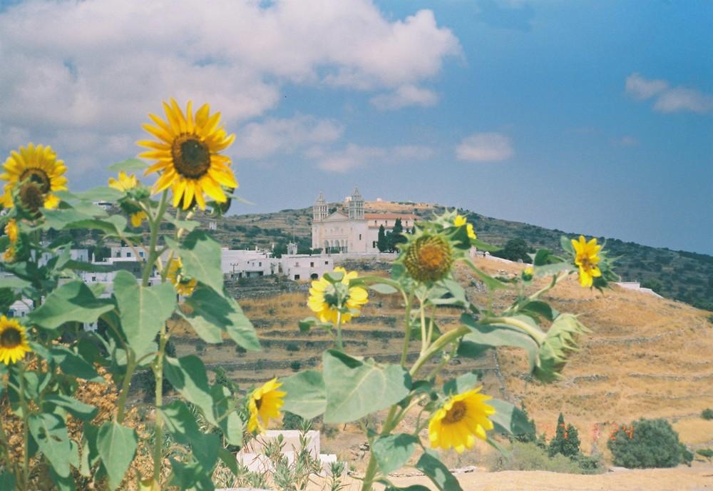 Aussicht vom Garten auf Agia Triada, Lefkes, Griechenland