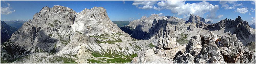 Aussicht vom Toblinger Knoten in den Dolomiten