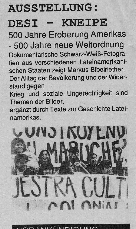 Ausstellung im Kulturzentrum DESI, 1992