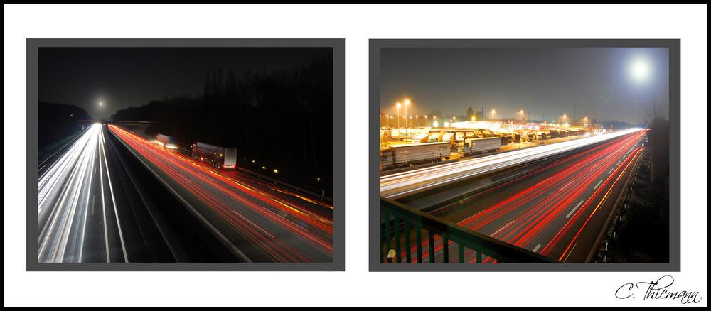 Autobahn A2 bei Nacht