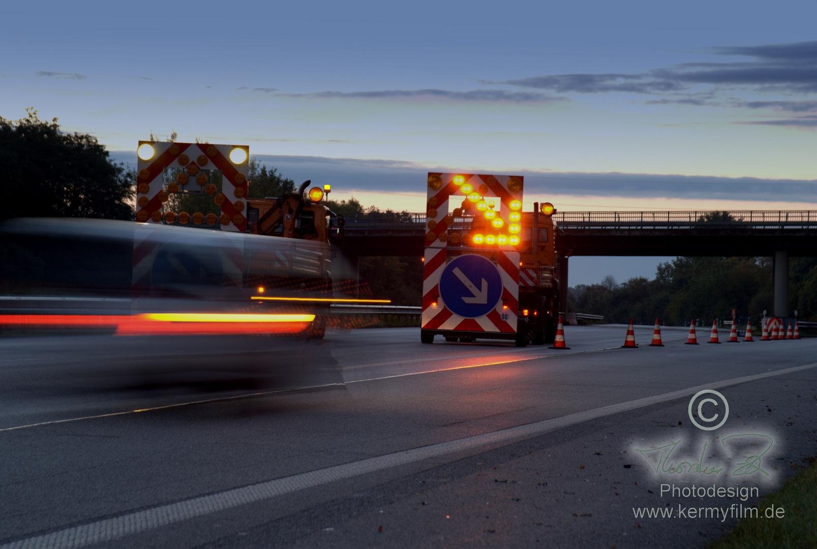 Autobahnsperrung am Morgen