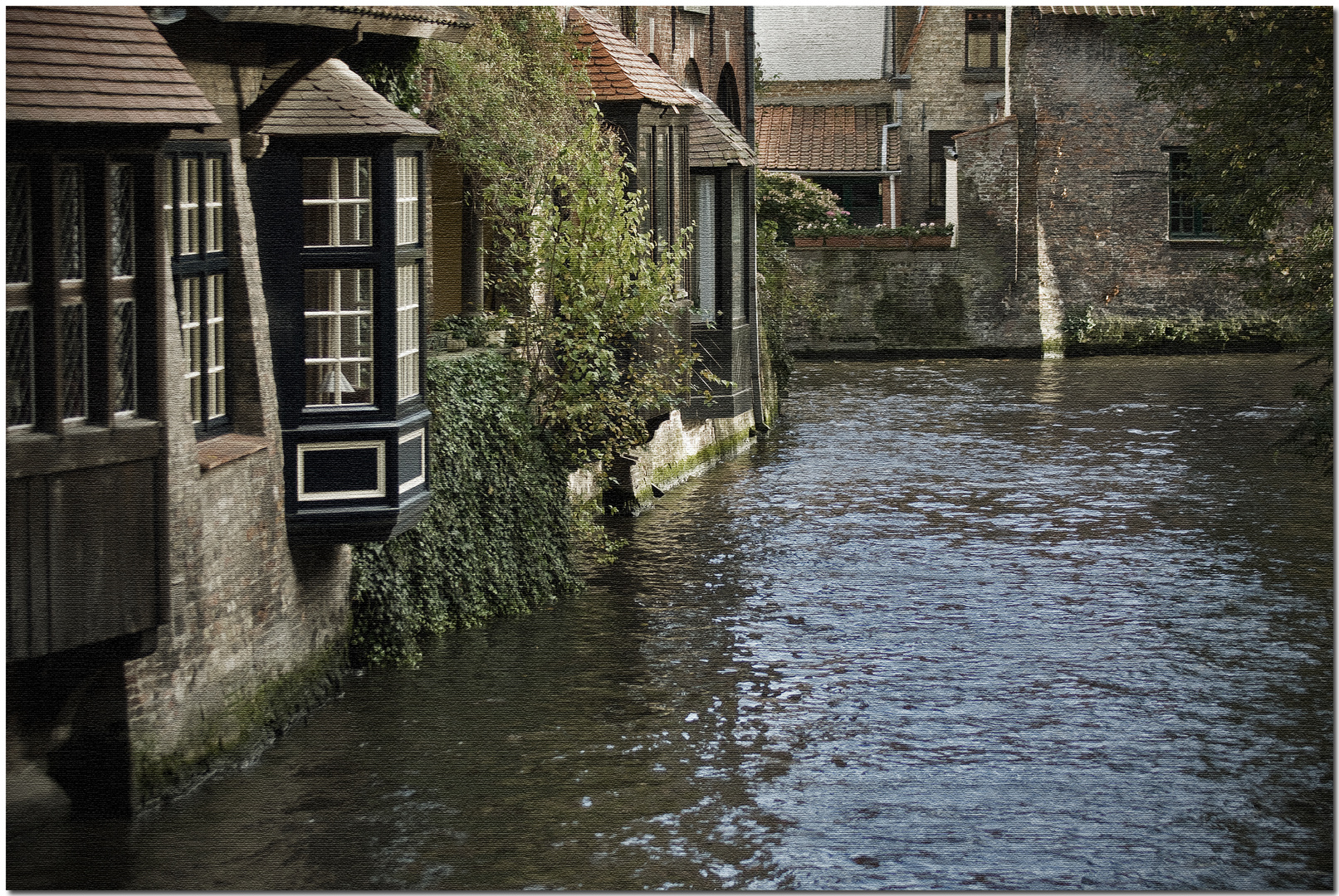Automne à Bruges IX Canal sur toile