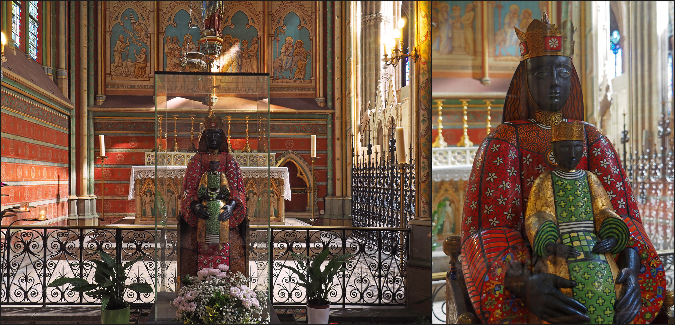 Autre vue de la Chapelle de la Vierge et détail de la Vierge noire  *