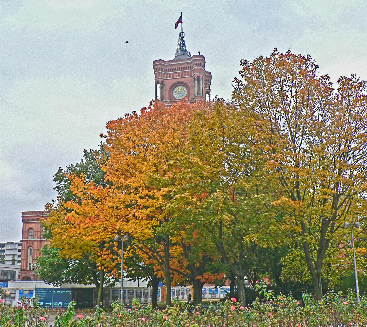 Autumn Trees in Front of the Red City Hall