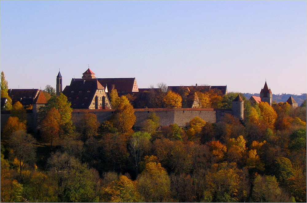 Autumnal colours surround the town