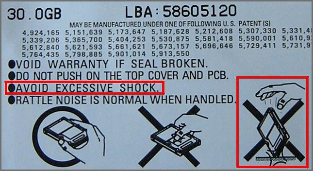 AVOID EXCESSIVE SHOCK...