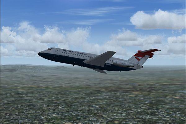 BAC-111, nach dem Start in Köln