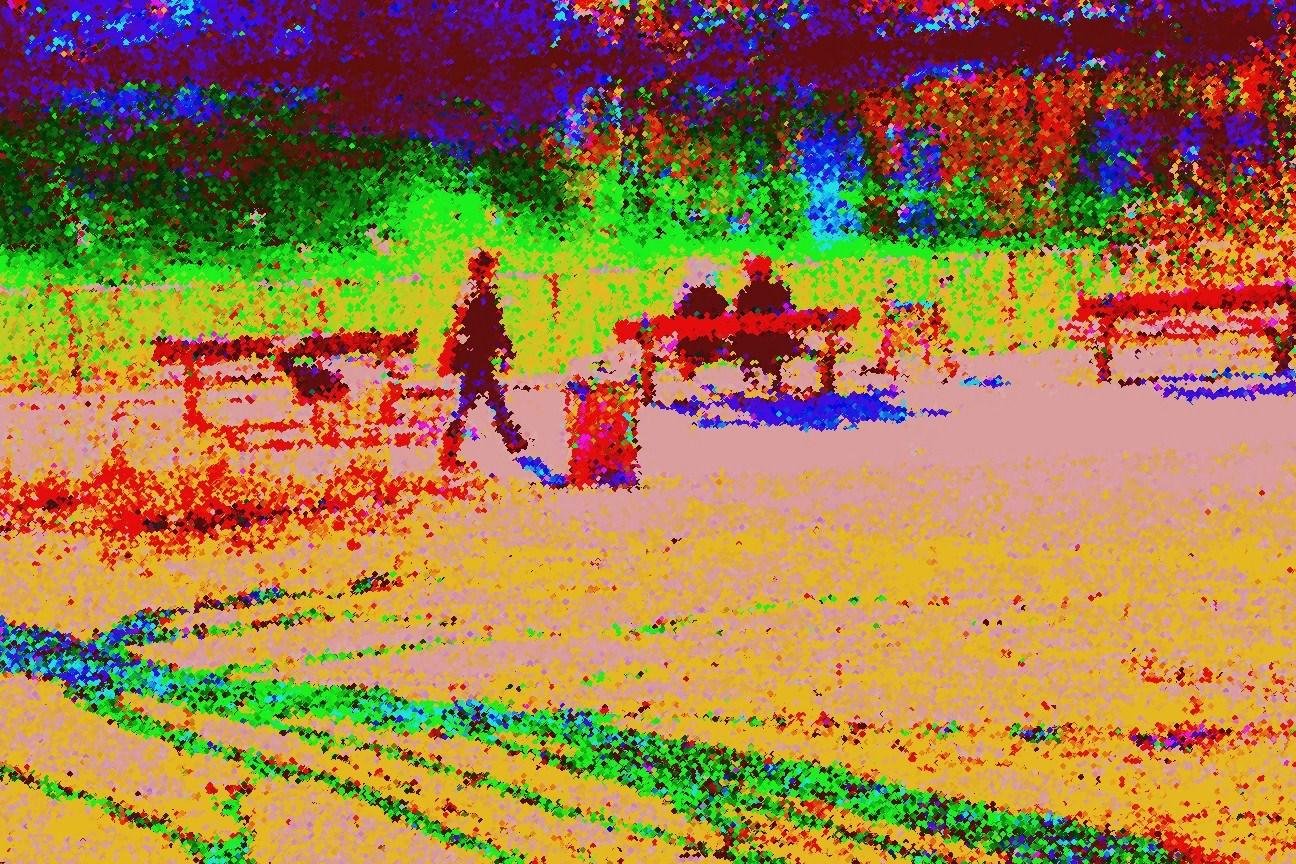 Bänke am Teich (Stil: Fauvismus)
