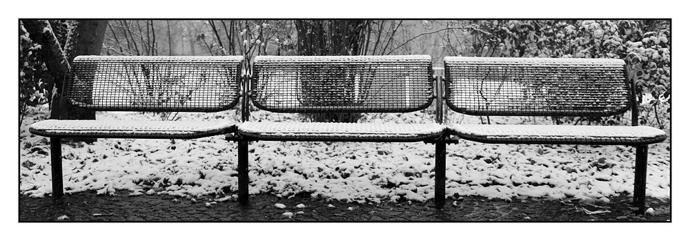Bänke im Schnee: - 1- Die gerade Bank