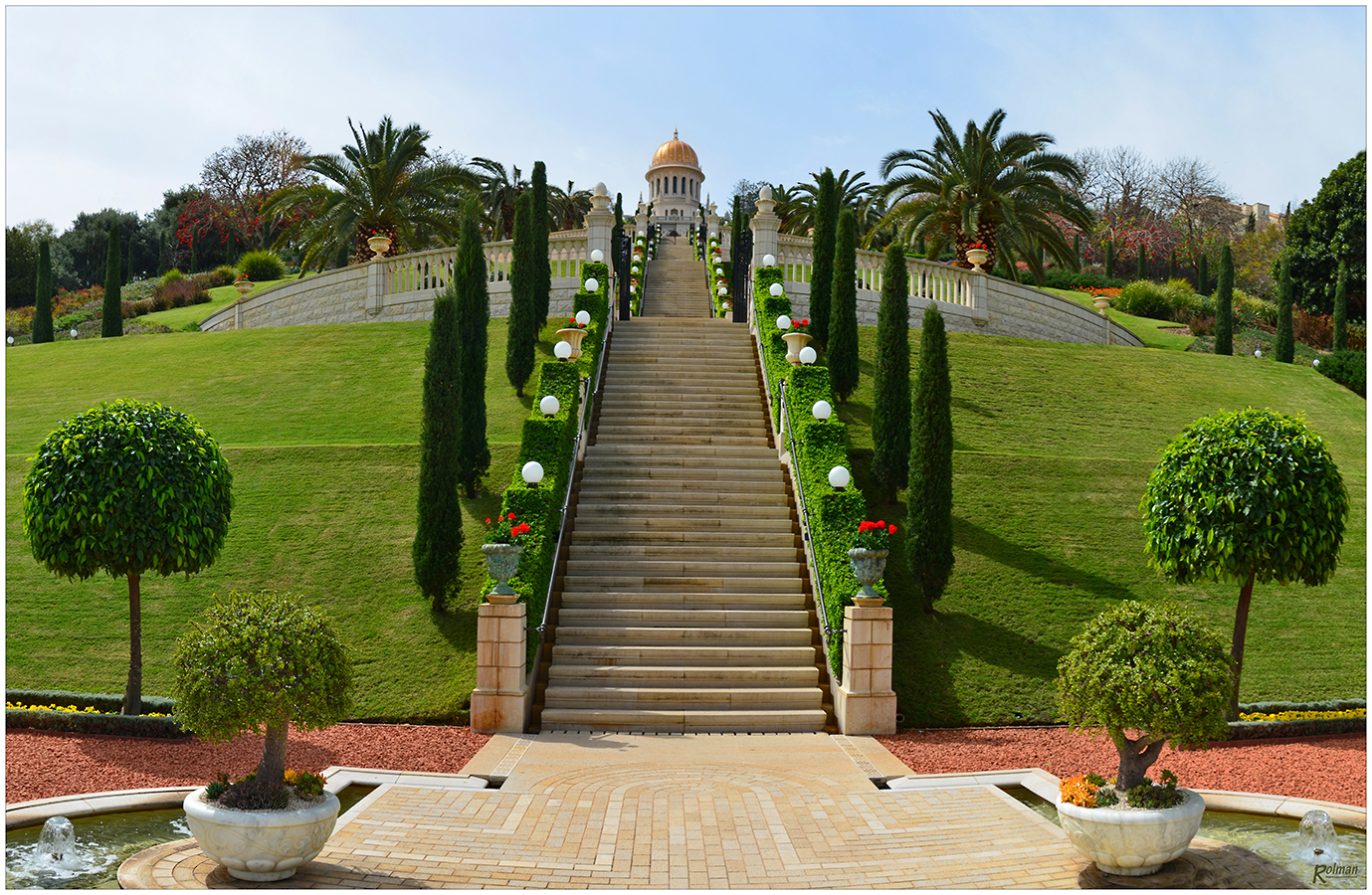 bahai garden am berg karmel in haifa israel foto bild landschaft garten. Black Bedroom Furniture Sets. Home Design Ideas