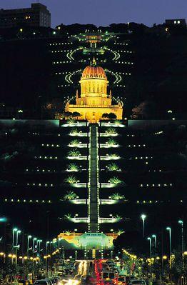 Bahai-Tempel bei Nacht / Haifa