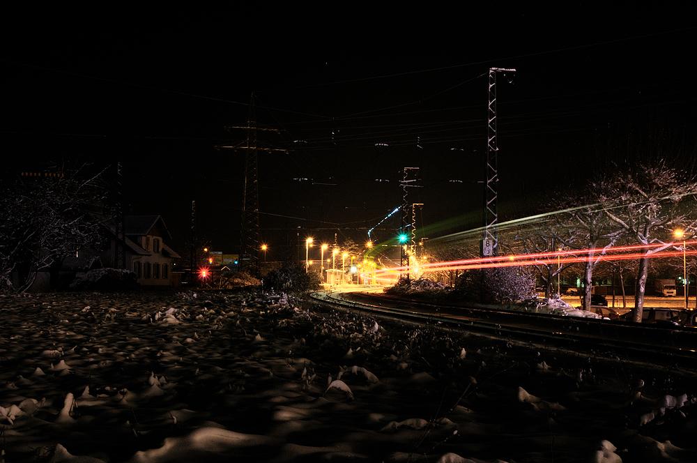 Bahnhof Haagen OT-Lörrach bei Nacht bei - 9,5° Grad