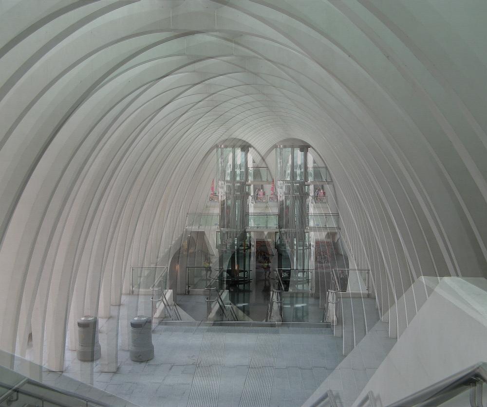 Bahnhof Lüttich Guillemins (3D-Bild für Polfilterbrille)