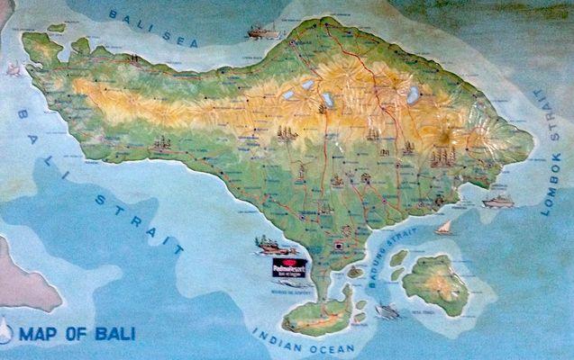 Bali , die Insel, sieht aus wie ein Fisch