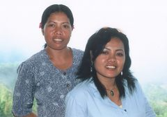 Balinese sisters on lake Batur