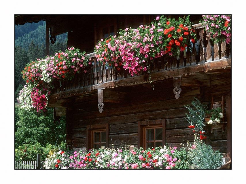 Balkonschmuck eines Bauernhofs im Obertal