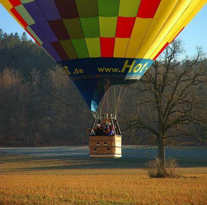 Ballon vorm Touchdown - Winterlandschaft in Oberbayern vor 10 Tagen!