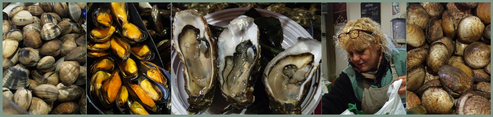 Banc d'huîtres et coquillages sur le marché de Ronce les Bains