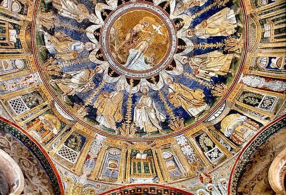 Baptisterium der Kathedrale von Ravenna, Kuppelmosaik