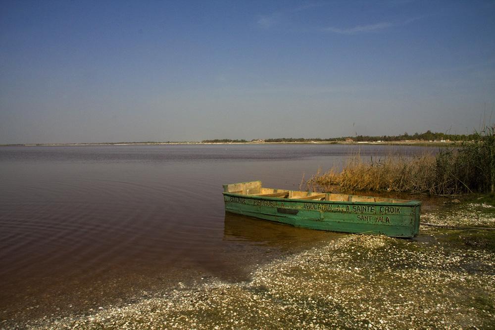 Barca en el lago rosa