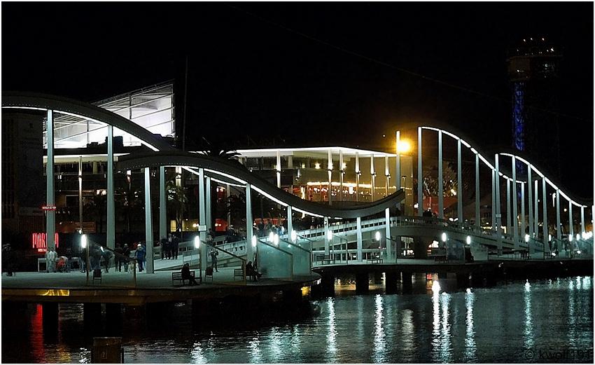Barcelona 2013 - Rambla del Mar bei Nacht