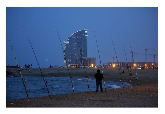 Barcelona Beach at night