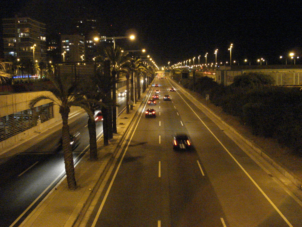 Barcelona city highway by night